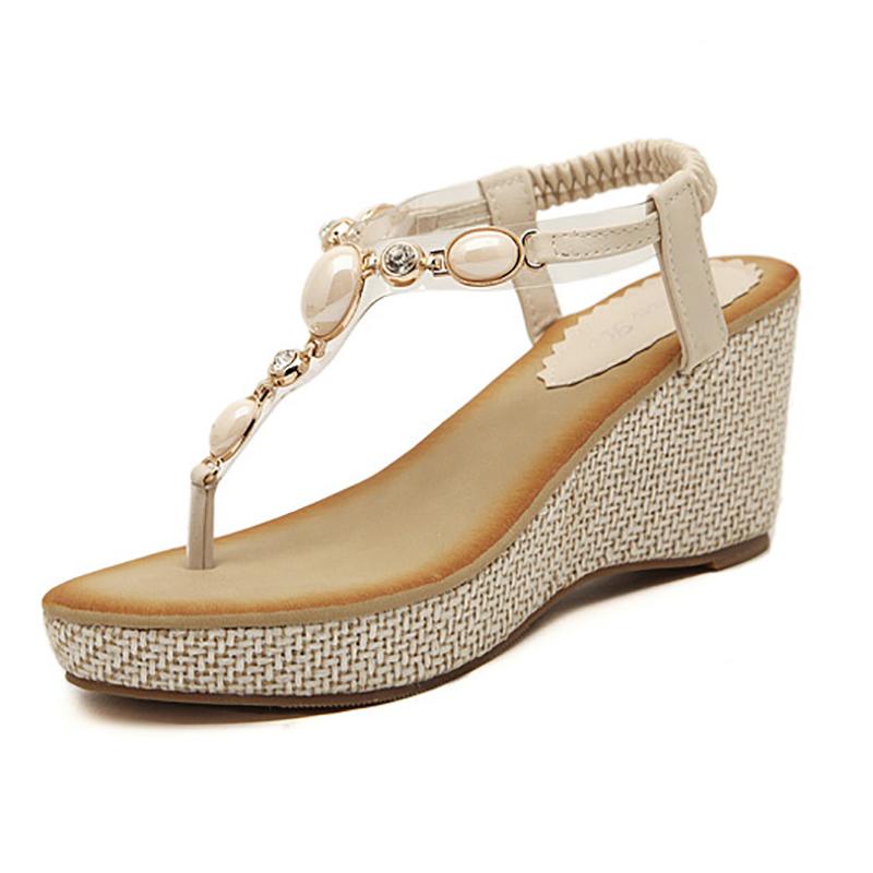 2016 Summer High heel Platform Sandals Wedges Shoes Woman Sexy Beaded Elastic band Flip flops Beach Slippers 01999-1(China (Mainland))