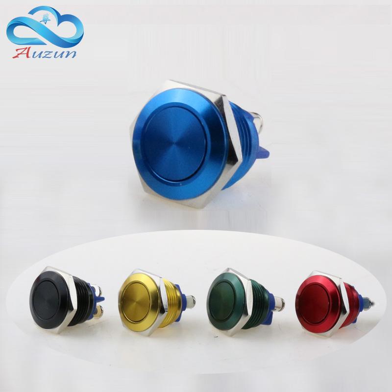 16 mm Flat head metal push button switch reset button 3 a250v moment start waterproof rust mechanical equipment horn