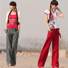 2015 new wholesale women's Cotton linen pants ladies red spring wide leg trousers casual sports loose womens white pants FW064(China (Mainland))