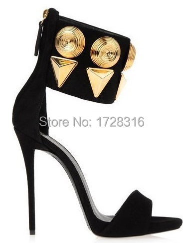 Brand designer women gladiator black genuine leather high heels shoes woman rome metal decor pumps zapatos mujer - Super VIP shoe store
