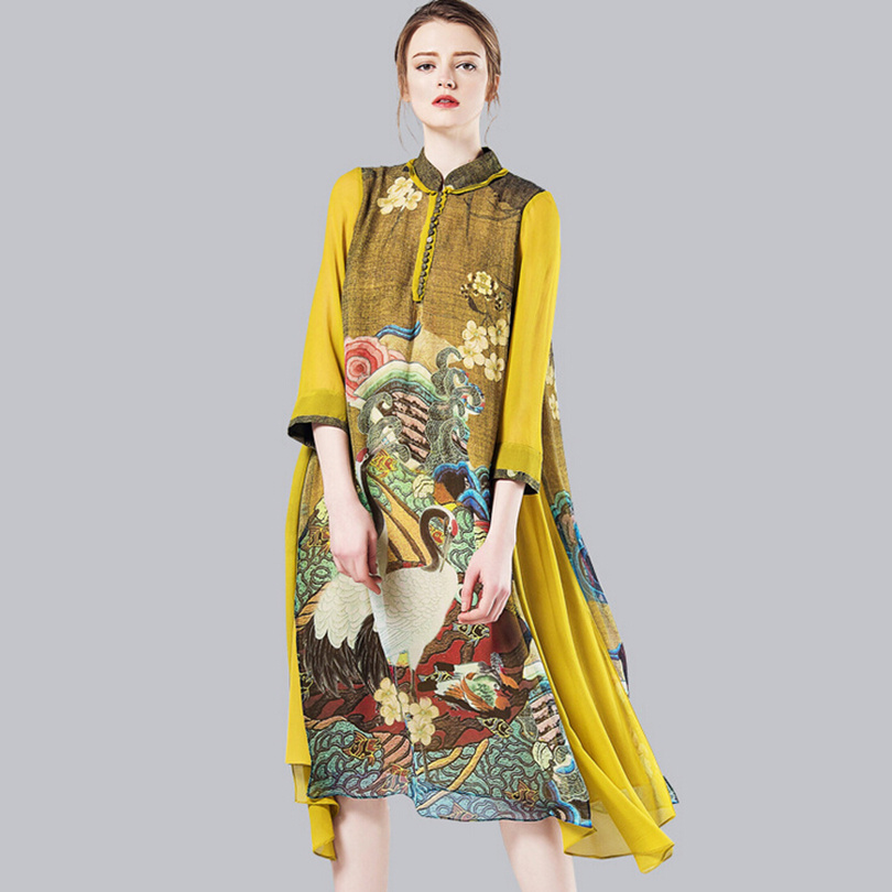 New 2016 runway fashion women summer designer Dress elegant flower prints vintage loose dress casual silk dress D5817Одежда и ак�е��уары<br><br><br>Aliexpress