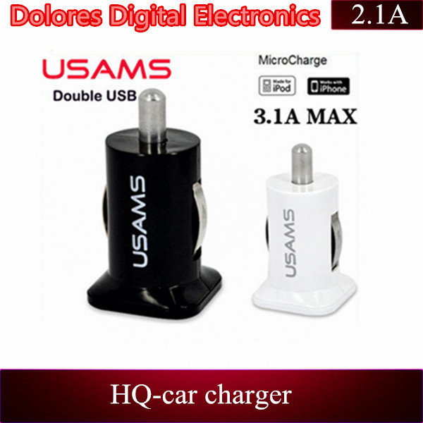 1 piece freeshipping wholesale 5V 2A 3.1A dual double usb car charger for iphone 5 5c and 5s sumsung S3 S4 and for ramos tablet