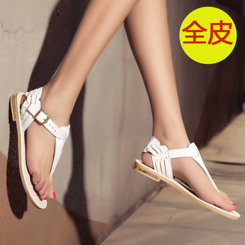 2015 New Sweet Free shipping Pu Adhesive Casual Women Sandals Bow Wedges Shoes Comfortable Flats Special Offer(China (Mainland))