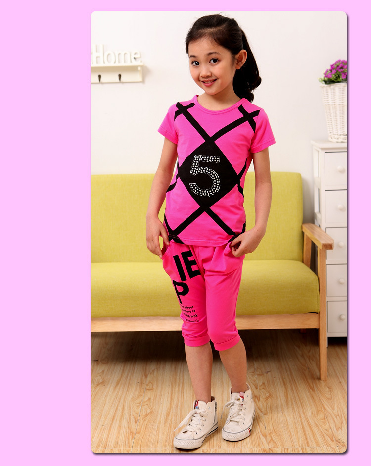 2015 Summer New Arrival Girls Cotton Short Sleeve Blouse +Bodycon Pants Cool Fashion Sports Children Cute clothes sets KRA43(China (Mainland))