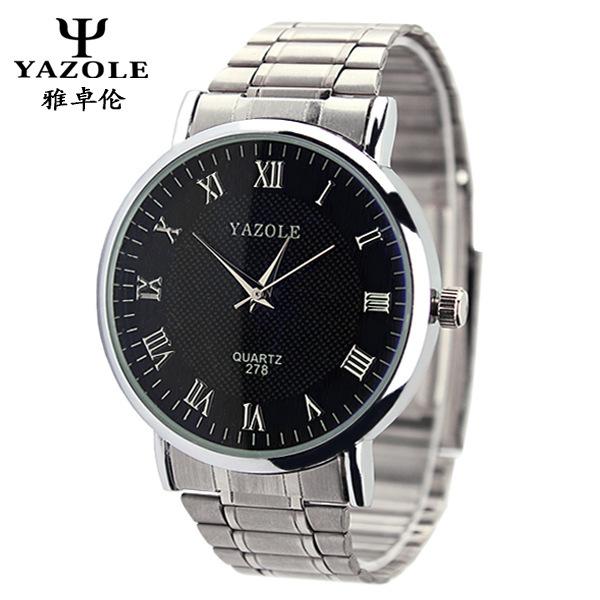 2015 YAZOLE люксовый бренд мода из нержавеющей стали ремешок мужские кварцевые часы свободного покроя мужчины женщины наручные часы relogio masculino