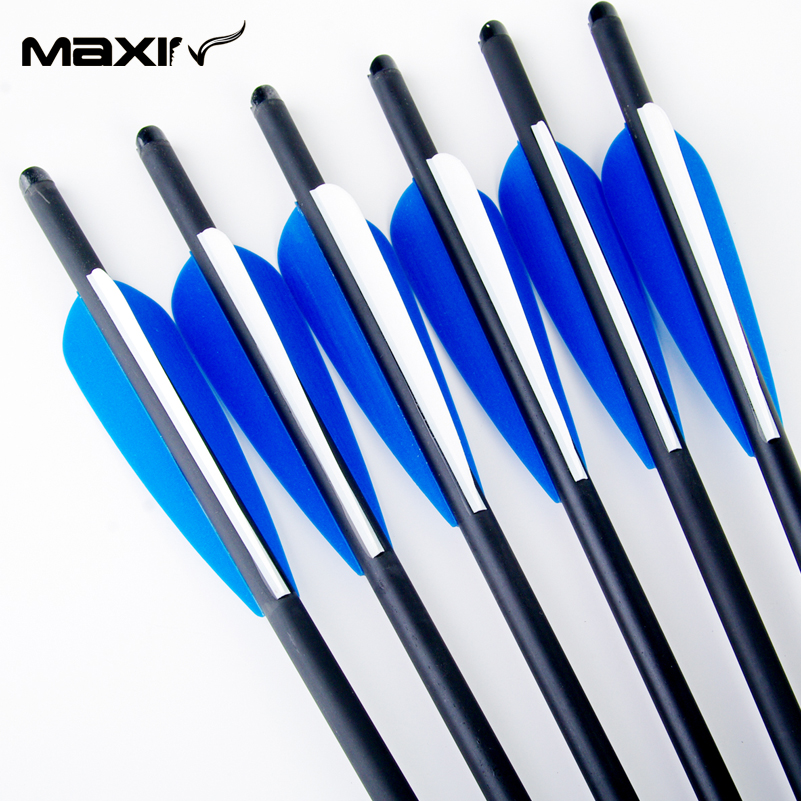 6pcs lot Hunting Crossbow 8 8mm Arrows Carbon 20 Spine 400 with Blue Turkey Feather Archery