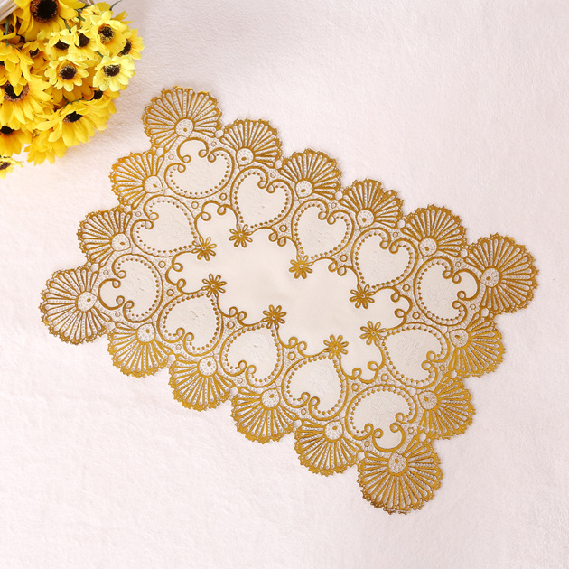 12PCS/LOT 30x45cm Table Mat Pads Placement Kitchen Wedding Party Lace Coaster Bar Table Cup Mats Free Shipping KC037(China (Mainland))