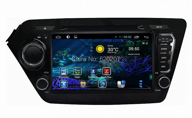 FOR KIA K2 Rio pure Android 4 4 car dvd Navigation audio gps Capacitive screen car