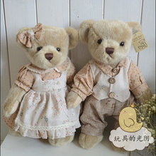 2pcs one pair 38cm lovely couple teddy bear with cloth plush toys soft animal doll girls birthday and christmas gift