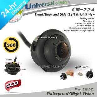 HD CCD 360 Degree Rotation Side View Parking Camera for Rearview Mirror with Adjust Tool Night Vision Waterproof(Hong Kong)