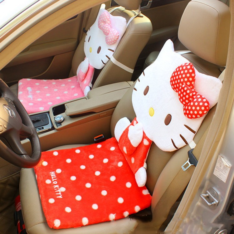 beautiful soft hello kitty car styling car seat back cushion siamese cat car seat cover covers. Black Bedroom Furniture Sets. Home Design Ideas