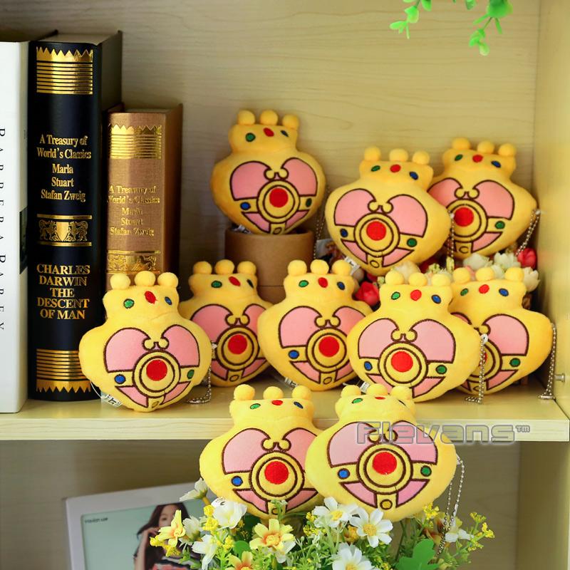 Anime Cartoon Sailor Moon Golden Heart Crown Plush Toys with Ring Soft Stuffed Dolls 10pcs/lot ANPT378(China (Mainland))