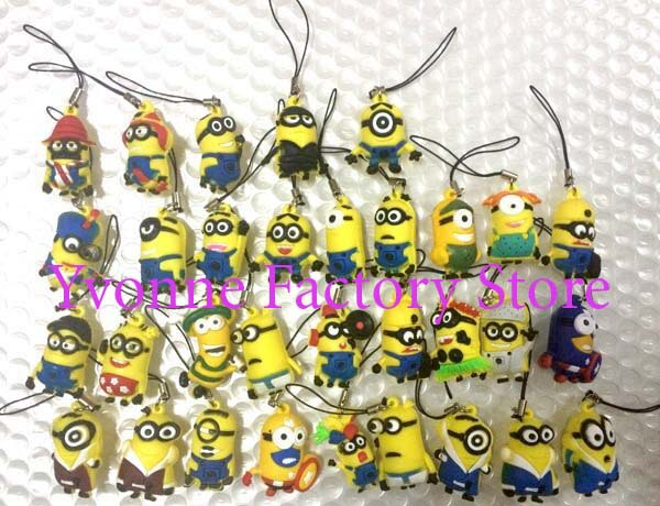 lot of 200 pcs Despicable Me Minions 3D mobile phone strap Charm mixed(China (Mainland))