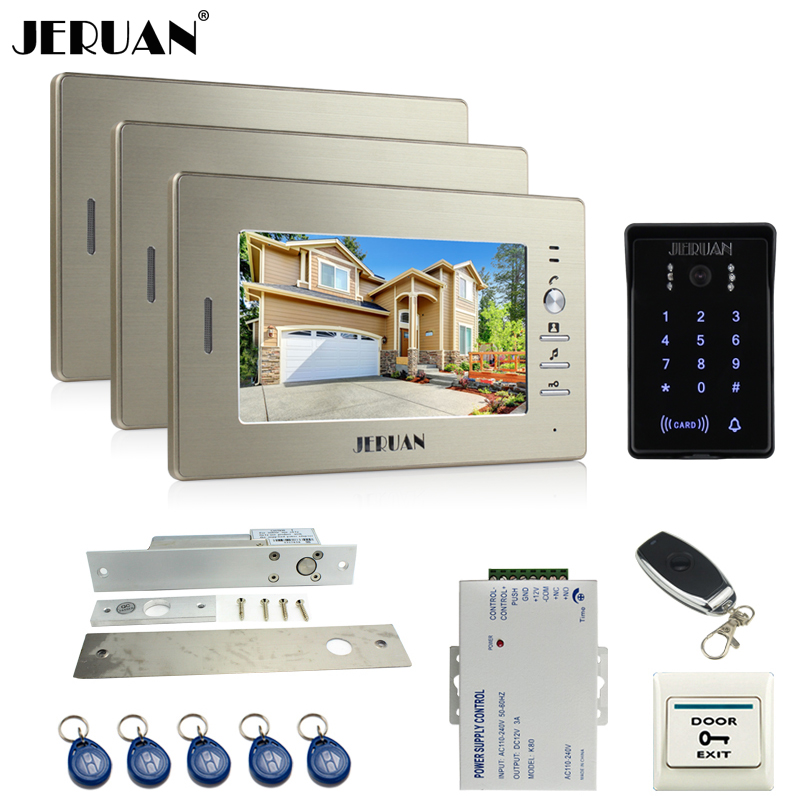 JERUAN luxury 7`` LCD video doorphone intercom system 3 monitor RFID waterproof Touch Key password keypad camera+remote control(China (Mainland))