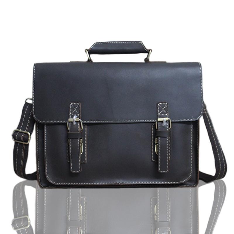 Crazy Horse Leather Vintage Handbag Fashion Messenger Shoulder bag Practical Laptop bags Single zipper Briefcase Crossbody Bag <br><br>Aliexpress