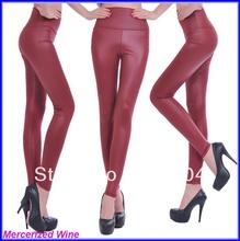 Breathable Mercerizing Multicolour High Waist Faux Leather Thin Elastic Legging Pants Free Shipping(China (Mainland))