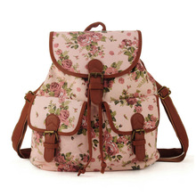 ZIWI Brand Preppy Style Hotsale Canvas Material Floral School Backpack Mochila Women Bag Top Quality QQ1715(China (Mainland))