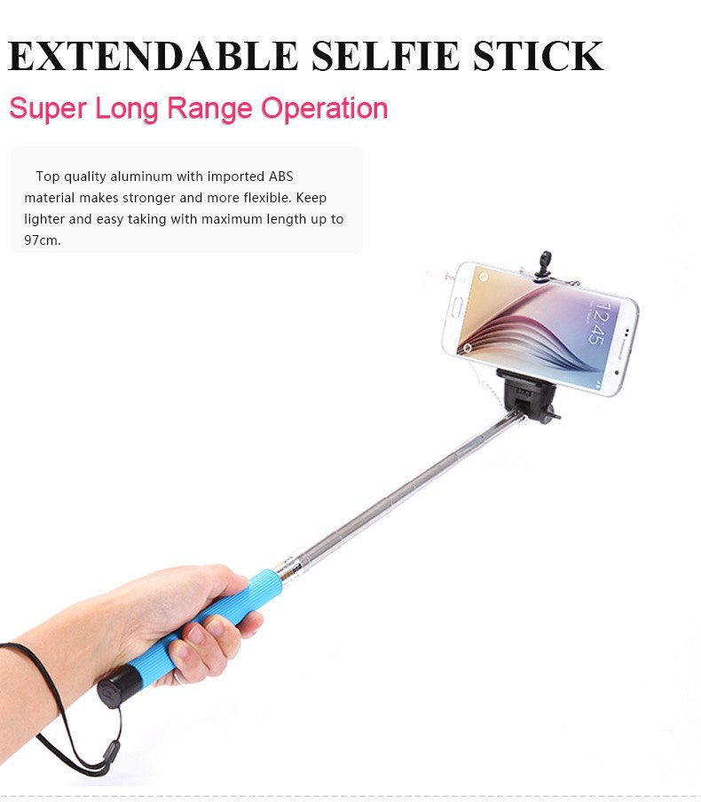 amazing handheld monopod audio cable wired selfie universal for ios android. Black Bedroom Furniture Sets. Home Design Ideas