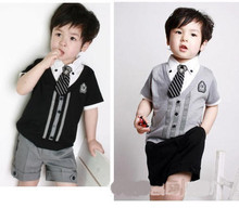 2015 New kids England College children boys suits+tie gentleman style fake two piece short sleeved + shorts baby clothing sets(China (Mainland))