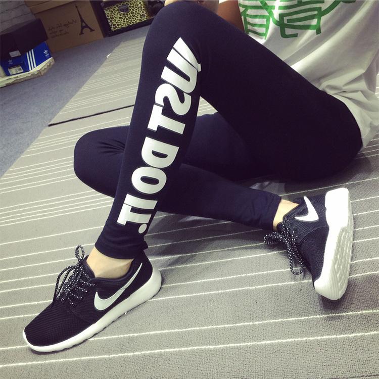 2015 Fashion Womens Sexy letter and machine Gun Print Black Soft Cotton Leggings Pants # LT01033(China (Mainland))
