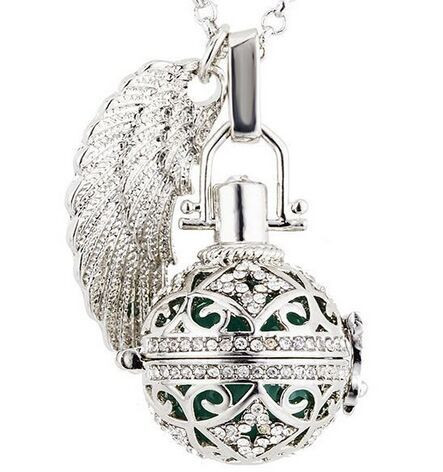 crystal- clover pattern 16mm angel caller Plating Cage Angel Ball Jewelry Hollow out Maternity Pendant Necklace for Women(China (Mainland))