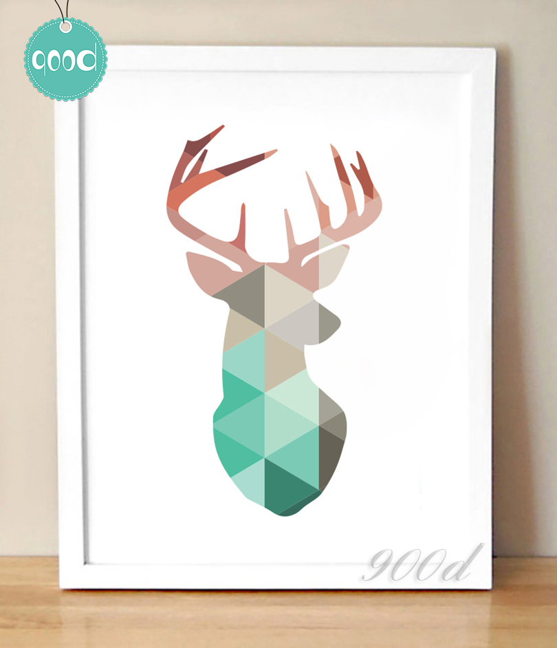 Geometric Coral Deer Head Canvas Art Print Poster, Wall Pictures for Home Decoration, Frame not include FA237-13(China (Mainland))