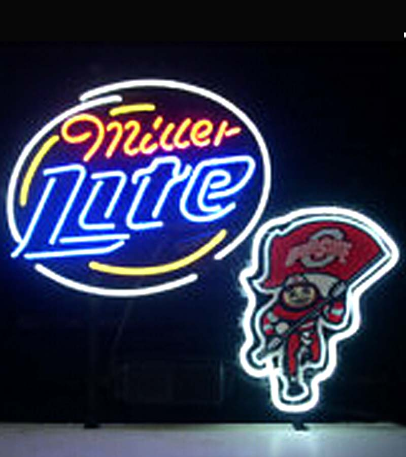"2015 Hot Neon Sign Commercial neon sign BEER LAMP MILLER LITE BUD LIGHT NEON SIGN DISPLAY STORE BEER BAR REAL NOEN 17""x14""(China (Mainland))"
