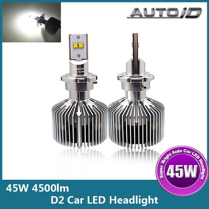 Здесь можно купить  High Power 45W 4500lm D2 LED Car Headlight Kit Bulb 6000K 11-30V DC DRL Auto Headlamp  Автомобили и Мотоциклы