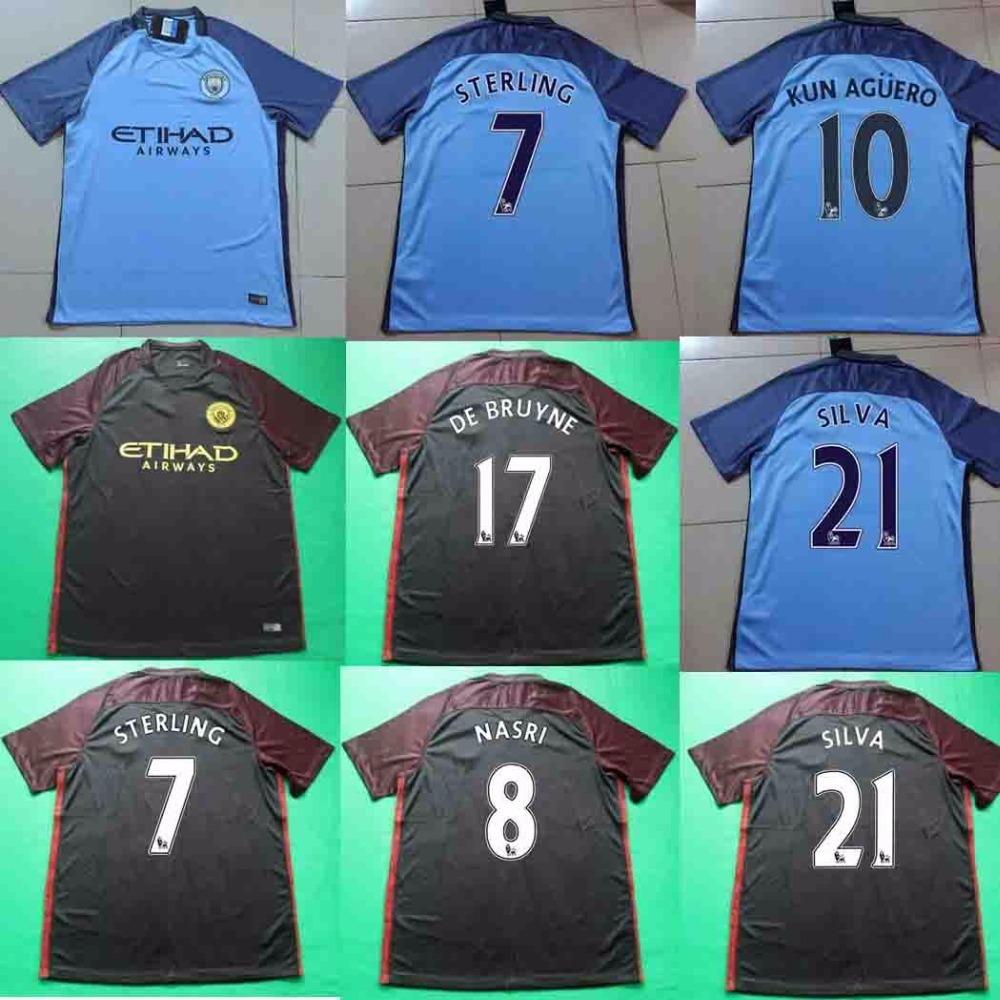 Best Quality 2016 2017 City Home away black Soccer Shirt camisetas 16 17 maillots de foot Send in 2 days(China (Mainland))