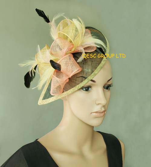 Yellow/pink/black Sinamay Fascinator Hat for Weeding,Kentucky Derby,Ascot Races,Melbourne Cup .(China (Mainland))