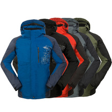 HOT sale High Quality Men's Outdoor Double Layer 2in1 Waterproof Climbing Skiing Jackets Sportwear five colors PLUS SIZE