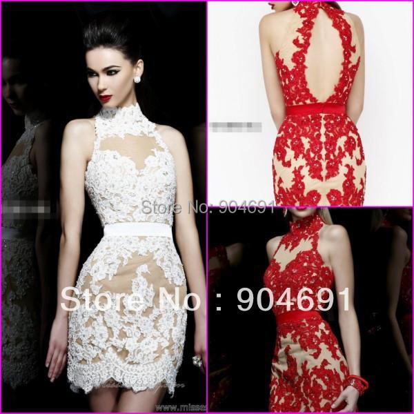 Short wedding dresses choker neck knee length red white for Choker neck wedding dress