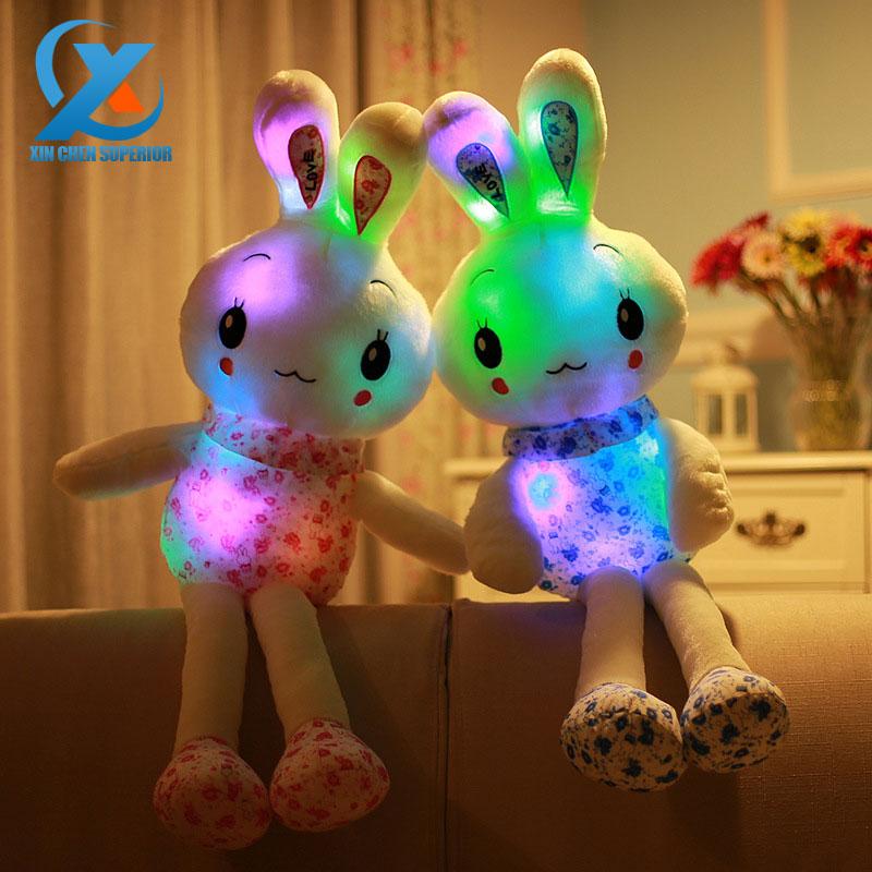 70cm Cartoon Plush Glowing Stuffed Plush Rabbit Toy Pillow Flashing LED Light Rabbit Doll Toys Baby Birthday Gift for Children(China (Mainland))