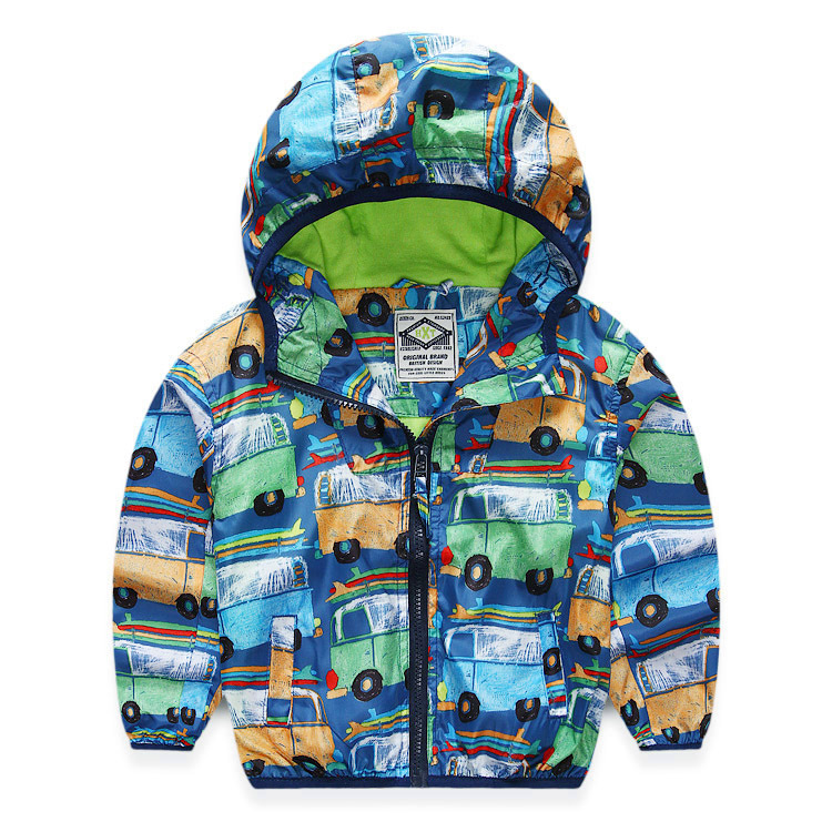 2015 Autumn New Children Jacket For Boys Print Cars Baby Boys Outerwear & Coats 2-10 Years Kids Waterproof Windbreaker Clothes(China (Mainland))