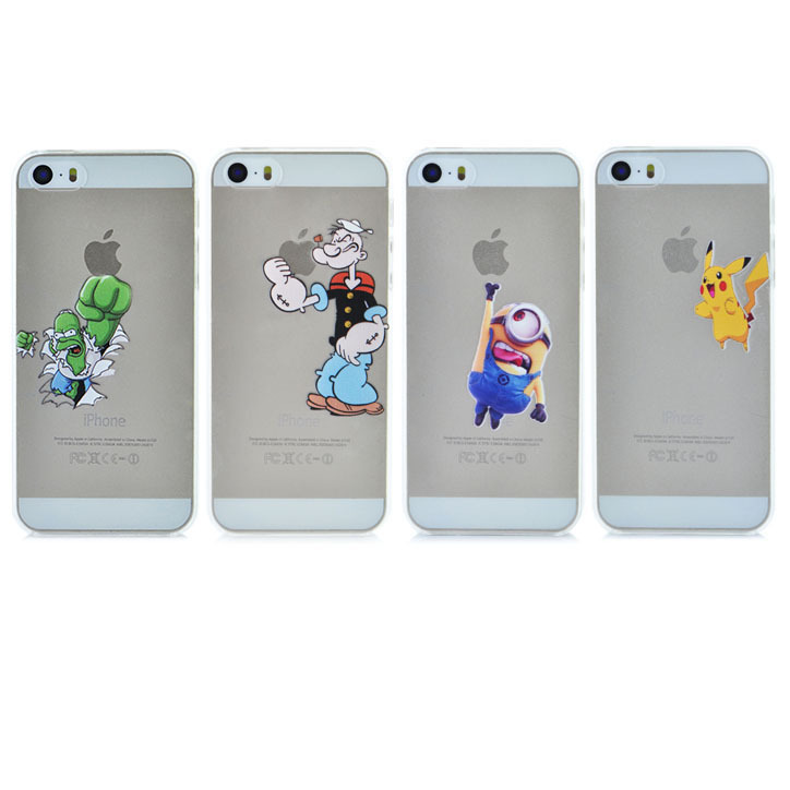 3D Cute Cartoon movie Transparent Hulk Popeye Despicable Me Yellow Minion Pikachu Phone Case Cover For Iphone 5 5S YC122(China (Mainland))