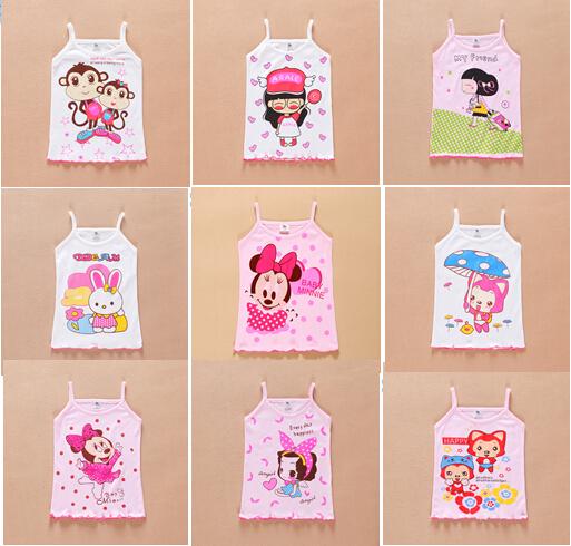 wholesale 48pcs Girls cartoon cotton vest children summer vest top tanks multi-colors 4size via fast shipping(China (Mainland))