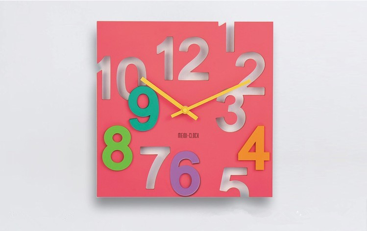 Antique Wall Clock with Big Numbers Modern 3D Quartz Wall Clock Cheap Square Plastic Wall Clock and paypal is ok(China (Mainland))
