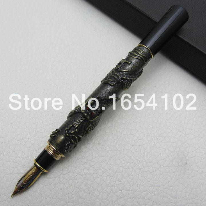 Advanced Fountain Pen Jinhao Chinese Dragon antique bronze Heavy Gift Pen with Original Gift Box J1167