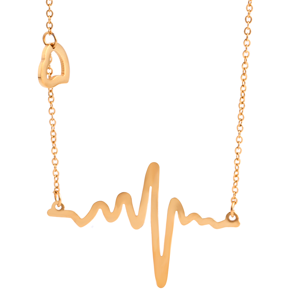 Fashion heartbeat necklace women pendant necklace gold-color chain collar necklace stainless steel necklace jewelry