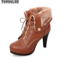 Soft PU leather autumn winter Warm women ankle boots High thin heels,Sexy Fashion Martin boots for Woman Big size shoes US 9.5(China (Mainland))