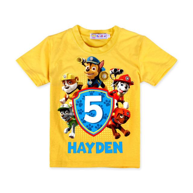 2016 летний мальчик футболки мальчиков мультфильм свободного покроя мода пункт патруль собака новая футболка вершины дети мальчики твердые одежда желтый