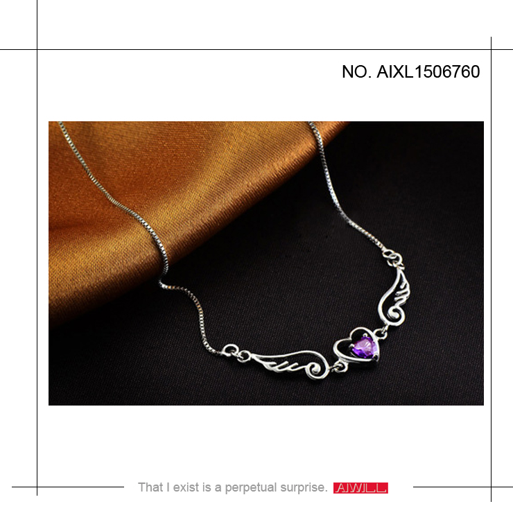 AIWILL SILVER JEWELRY & authentic 925 sterling silver pendant necklace women jewelry & romantic gift 2015 Angel lovers pendant(China (Mainland))