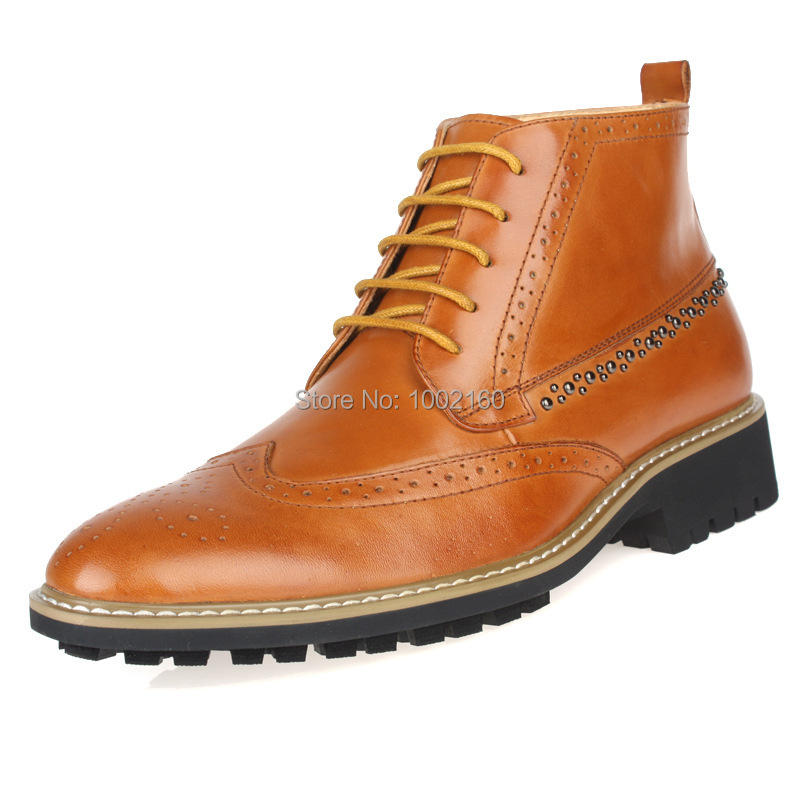 Winter 2014 carved leather shoes boots men high help England pointed Bullock boots rivets shoes<br><br>Aliexpress