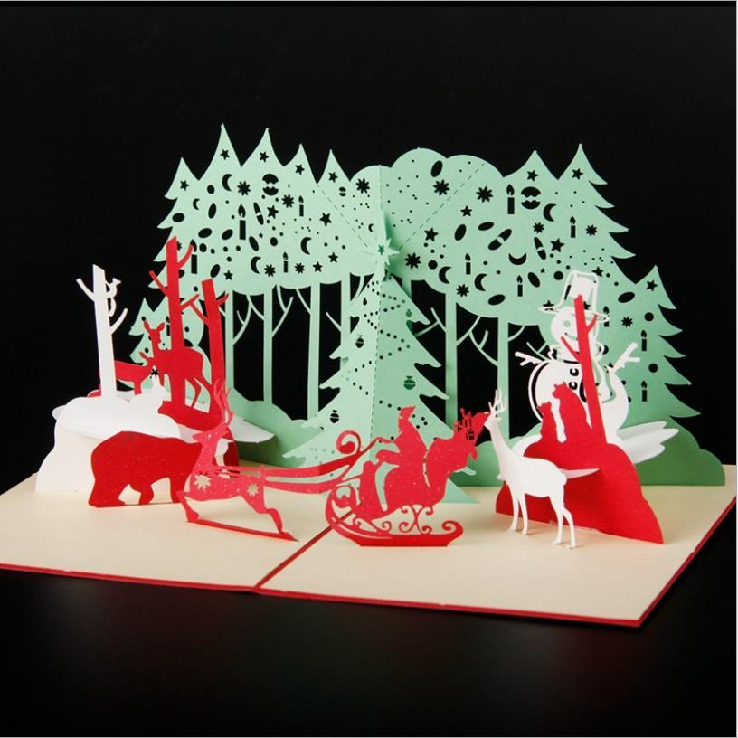 Fashion design CHRISTMAS greeting card 3D Carve empty paper postcard blessing cards birthday CHRISTMAS REVELS Chinese style HK-3(China (Mainland))