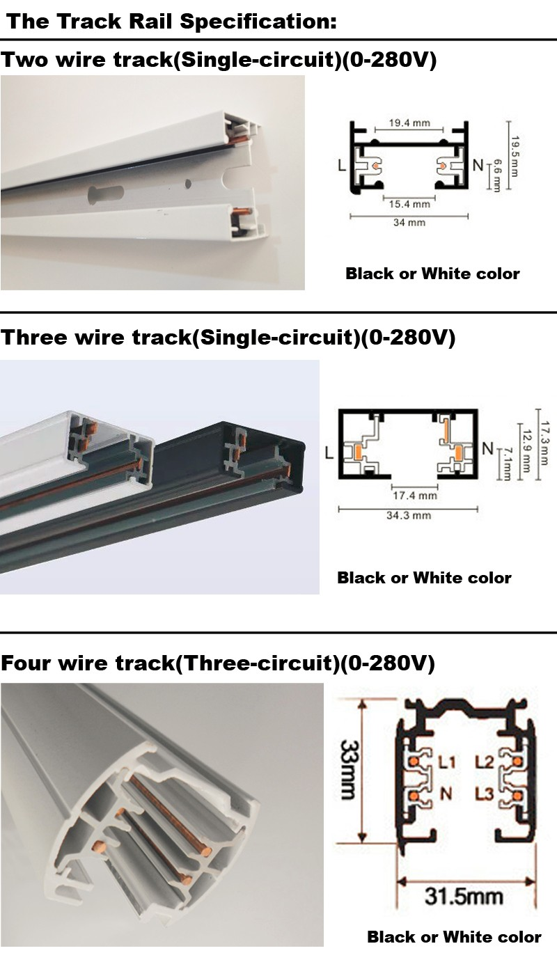 2018 Led Track Rail 1m 3 Wire Lighting Fixture Connnector Wiring A Image