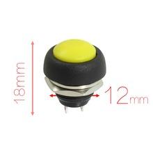 Diámetro 12mm Rosca SPST Momentáneo 250VAC 3A Montado Amarillo Cap Interruptor de Botón Redondo de Descuento 70