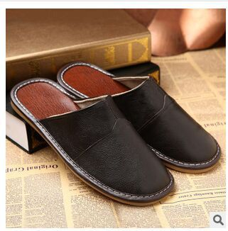Genuine Leather Shoes Men Summer Slippers Home High Quality Full Grain Leather Slippers Women Size 5-13 Slip Home Floor Shoe
