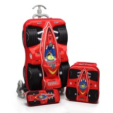 Baby Boys Cartoon Plane EVA 16'' 3D Luggage Suits Children's Wheeled Trolley Case Set Kids Christmas Gifts(China (Mainland))