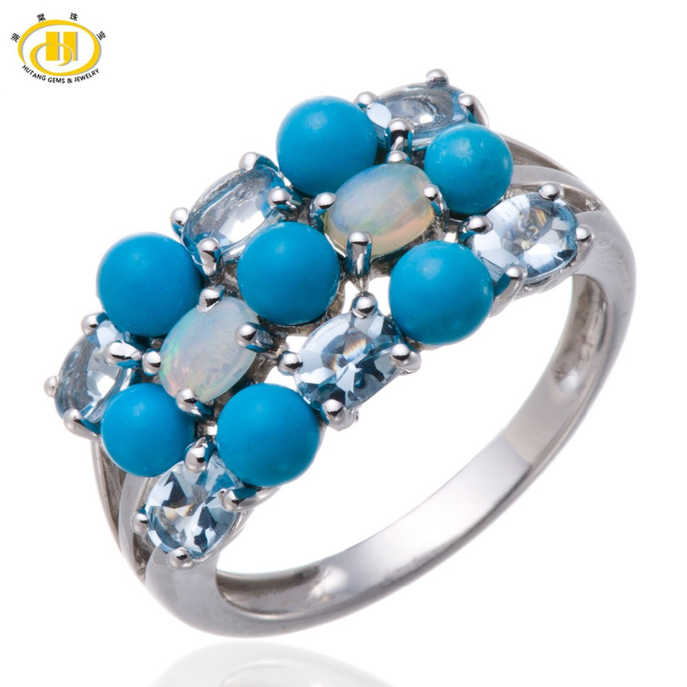 Real Altai Aquamarine & Opal & Turquoise Solid 925 Sterling Silver Cluster Ring Gemstone Fine Jewelry(China (Mainland))
