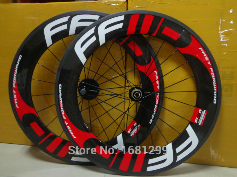 New red FFWD 700C 88mm clincher rim Road bike 3K UD 12K full carbon bicycle wheelsets aero spokes 20.5/ 23/ 25mm width Free ship(China (Mainland))